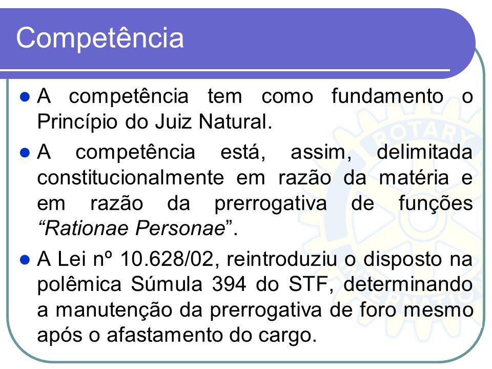 Competência A competência tem como fundamento o Princípio do Juiz Natural.