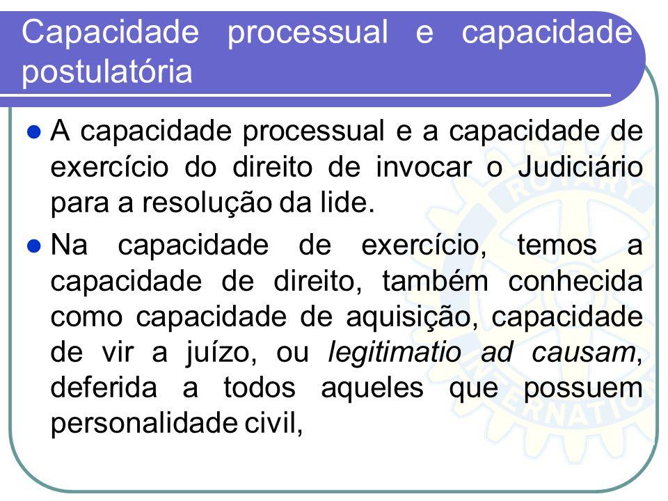 Capacidade processual e capacidade postulatória