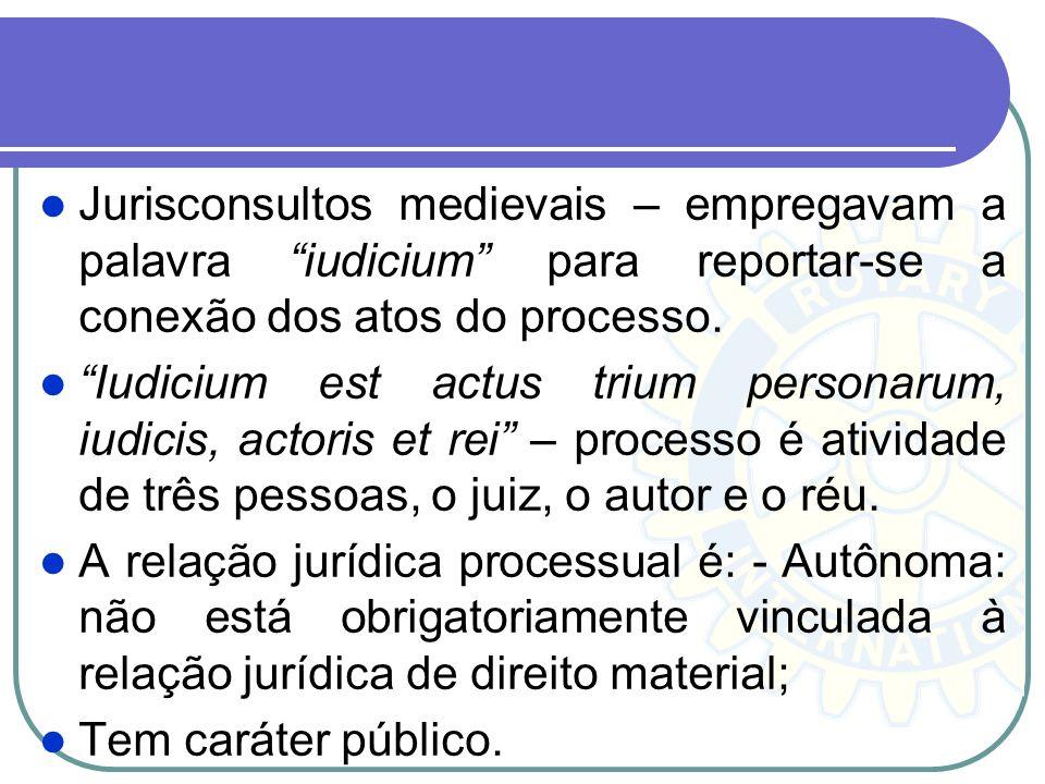 Jurisconsultos medievais – empregavam a palavra iudicium para reportar-se a conexão dos atos do processo.