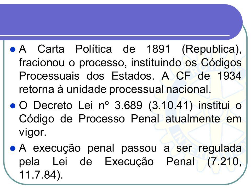 A Carta Política de 1891 (Republica), fracionou o processo, instituindo os Códigos Processuais dos Estados. A CF de 1934 retorna à unidade processual nacional.