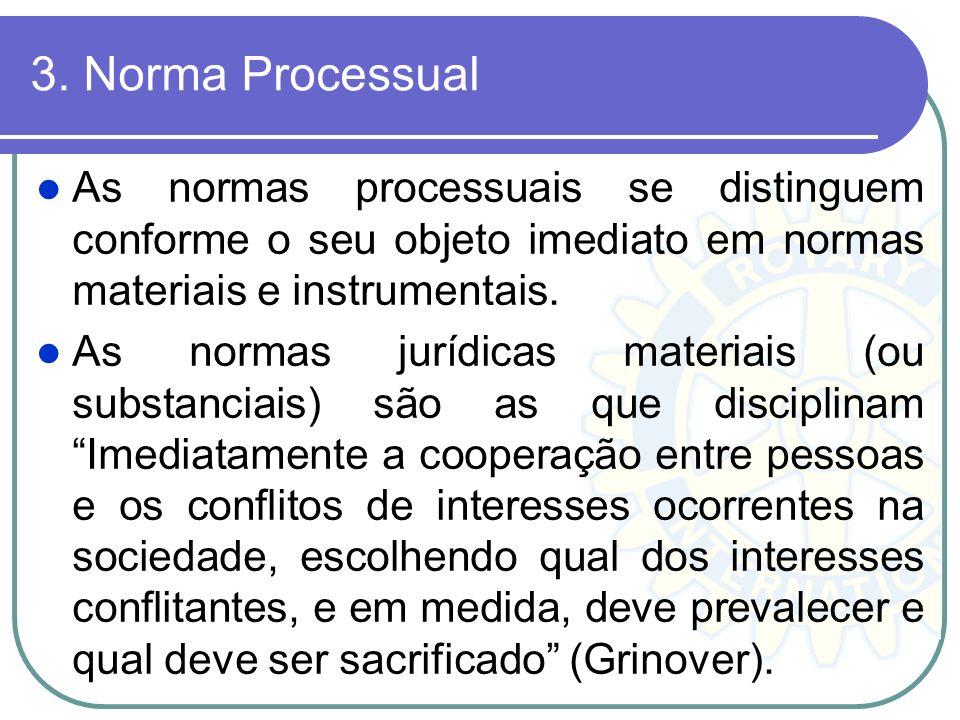 3. Norma Processual As normas processuais se distinguem conforme o seu objeto imediato em normas materiais e instrumentais.