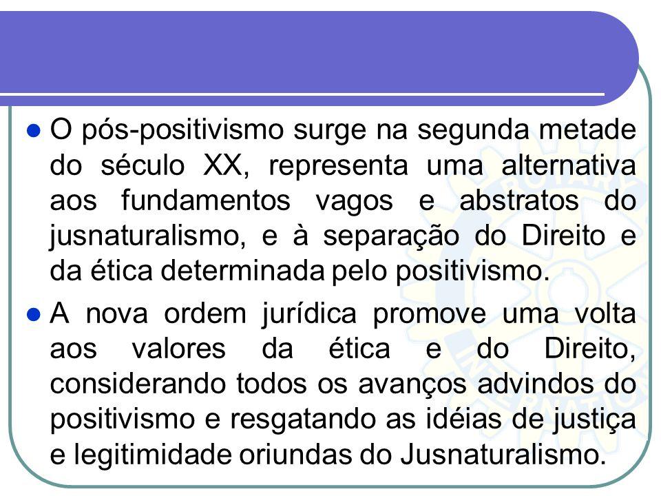 O pós-positivismo surge na segunda metade do século XX, representa uma alternativa aos fundamentos vagos e abstratos do jusnaturalismo, e à separação do Direito e da ética determinada pelo positivismo.
