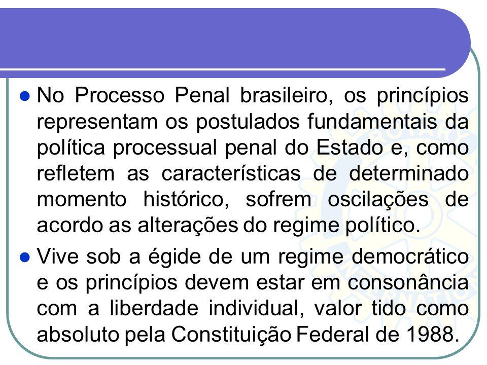 No Processo Penal brasileiro, os princípios representam os postulados fundamentais da política processual penal do Estado e, como refletem as características de determinado momento histórico, sofrem oscilações de acordo as alterações do regime político.