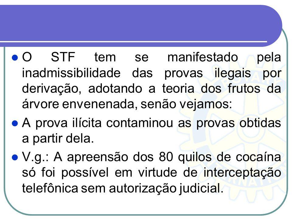 O STF tem se manifestado pela inadmissibilidade das provas ilegais por derivação, adotando a teoria dos frutos da árvore envenenada, senão vejamos: