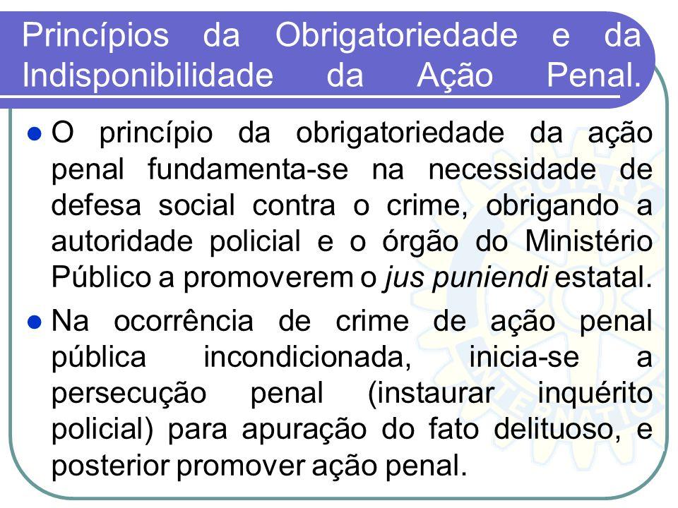 Princípios da Obrigatoriedade e da Indisponibilidade da Ação Penal.