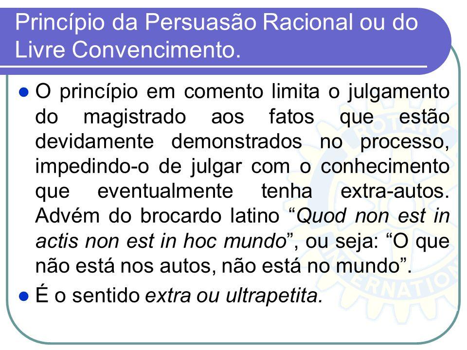 Princípio da Persuasão Racional ou do Livre Convencimento.