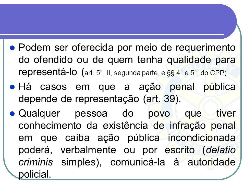 Podem ser oferecida por meio de requerimento do ofendido ou de quem tenha qualidade para representá-lo (art. 5°, II, segunda parte, e §§ 4° e 5°, do CPP).