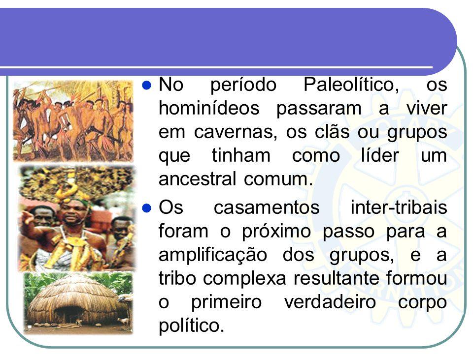 No período Paleolítico, os hominídeos passaram a viver em cavernas, os clãs ou grupos que tinham como líder um ancestral comum.