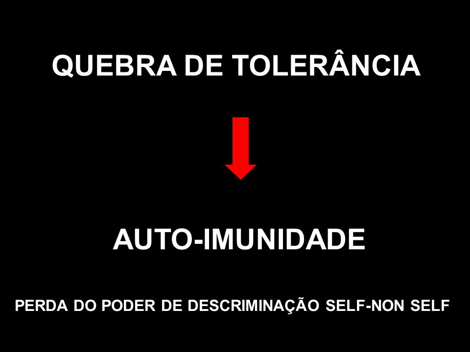 PERDA DO PODER DE DESCRIMINAÇÃO SELF-NON SELF