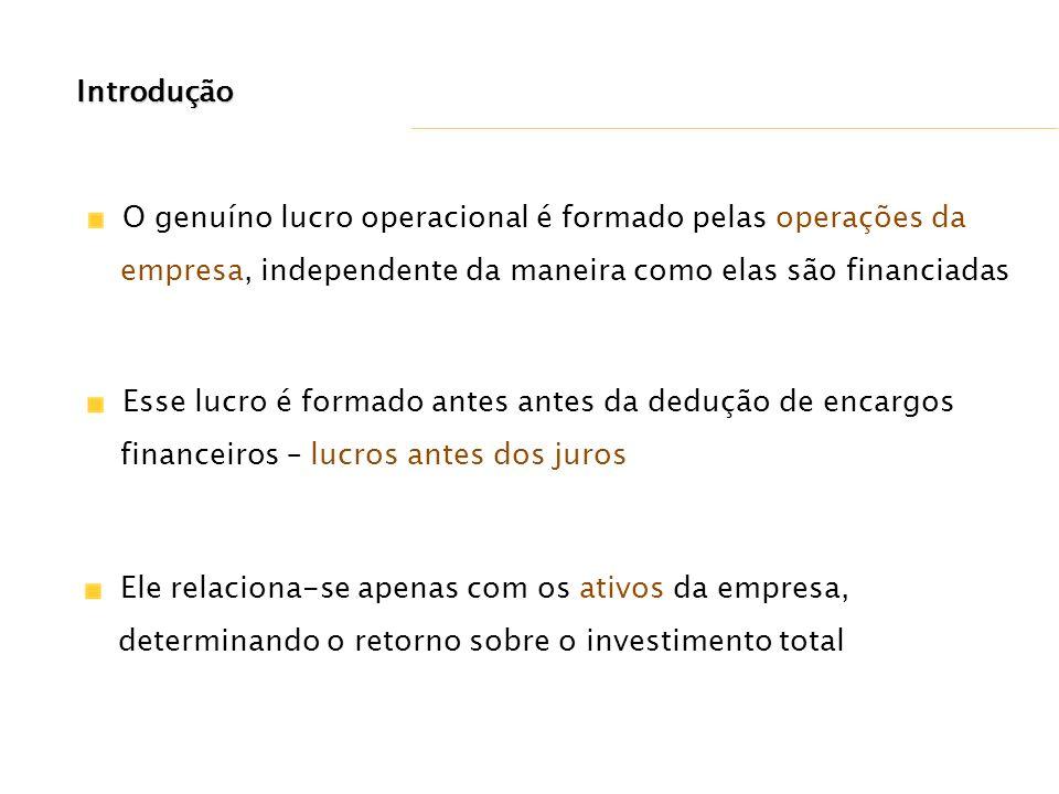 Introdução O genuíno lucro operacional é formado pelas operações da. empresa, independente da maneira como elas são financiadas.