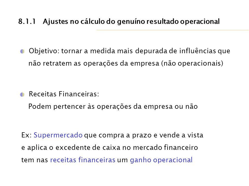 8.1.1 Ajustes no cálculo do genuíno resultado operacional