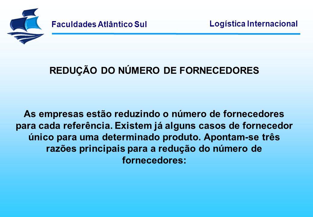 REDUÇÃO DO NÚMERO DE FORNECEDORES
