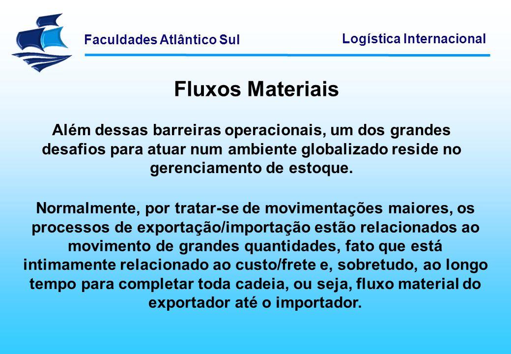 Fluxos Materiais Além dessas barreiras operacionais, um dos grandes desafios para atuar num ambiente globalizado reside no gerenciamento de estoque.