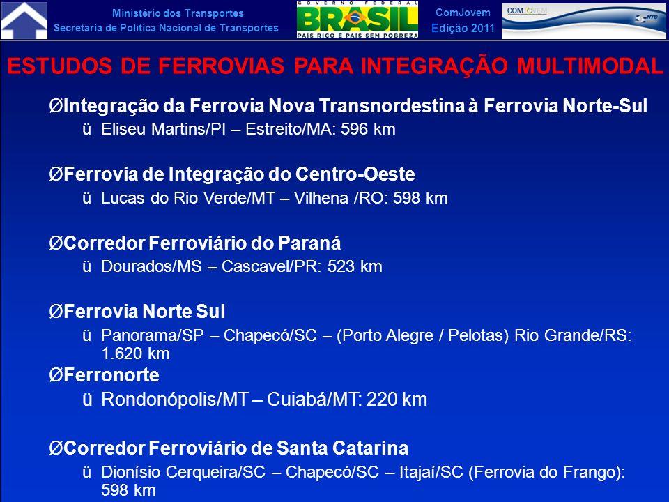 ESTUDOS DE FERROVIAS PARA INTEGRAÇÃO MULTIMODAL