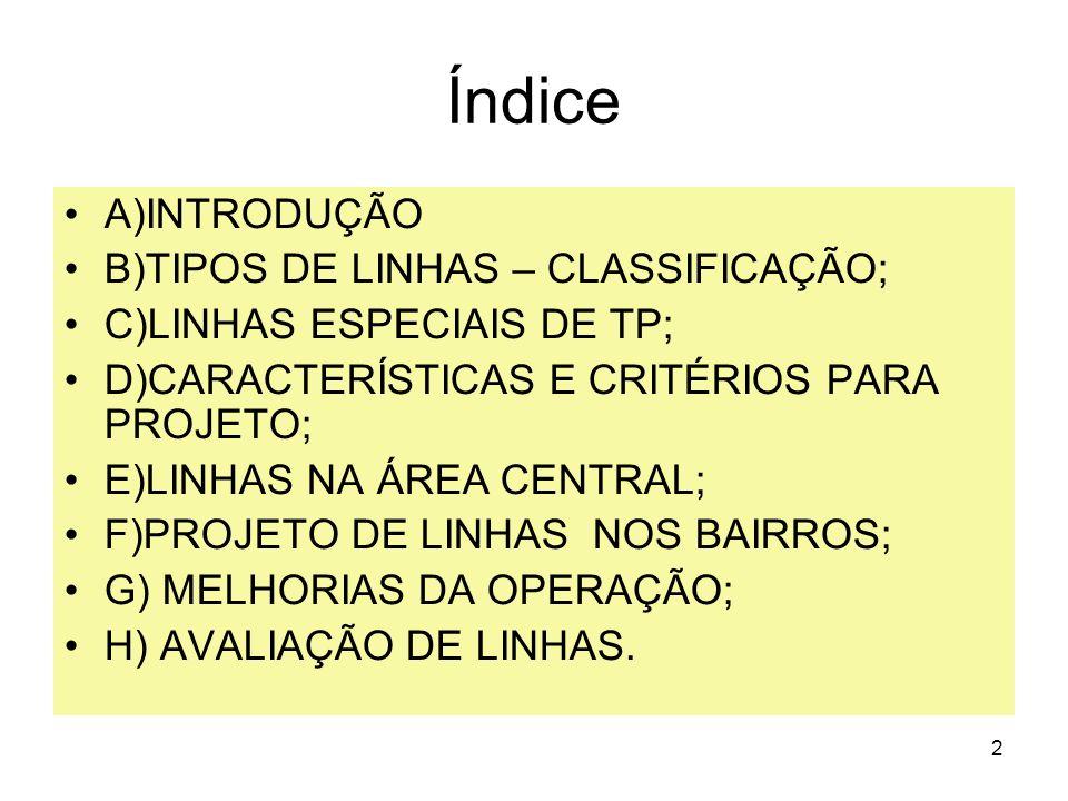 Índice A)INTRODUÇÃO B)TIPOS DE LINHAS – CLASSIFICAÇÃO;
