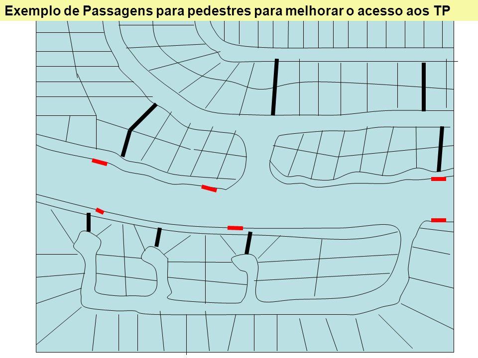Exemplo de Passagens para pedestres para melhorar o acesso aos TP