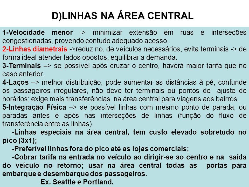 D)LINHAS NA ÁREA CENTRAL