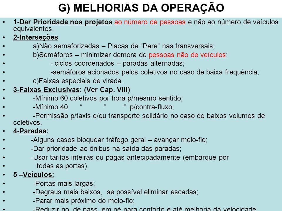 G) MELHORIAS DA OPERAÇÃO