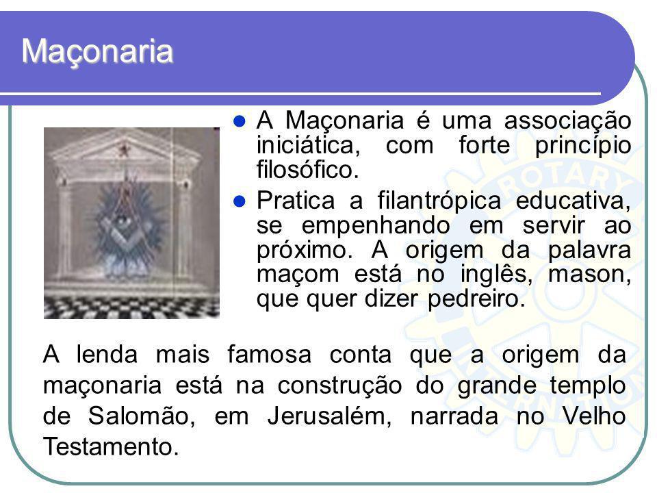Maçonaria A Maçonaria é uma associação iniciática, com forte princípio filosófico.