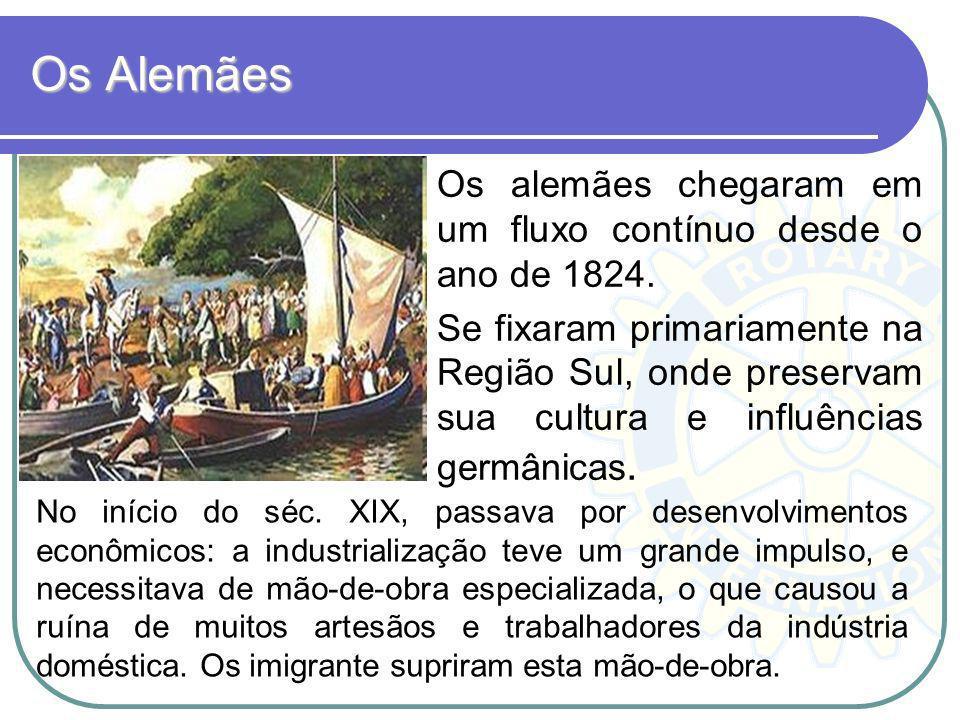 Os Alemães Os alemães chegaram em um fluxo contínuo desde o ano de 1824.