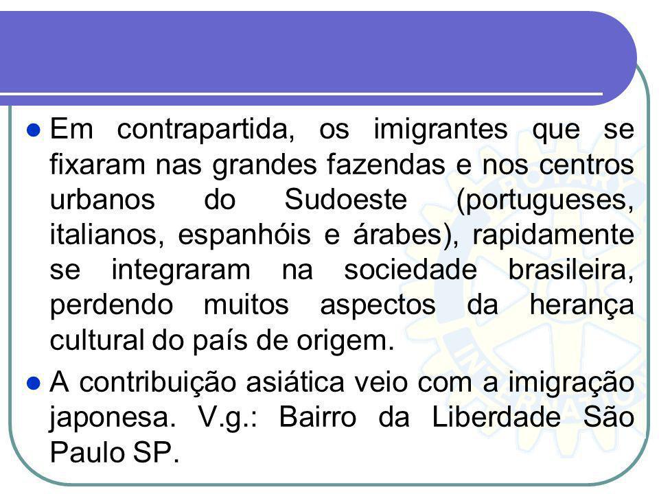 Em contrapartida, os imigrantes que se fixaram nas grandes fazendas e nos centros urbanos do Sudoeste (portugueses, italianos, espanhóis e árabes), rapidamente se integraram na sociedade brasileira, perdendo muitos aspectos da herança cultural do país de origem.