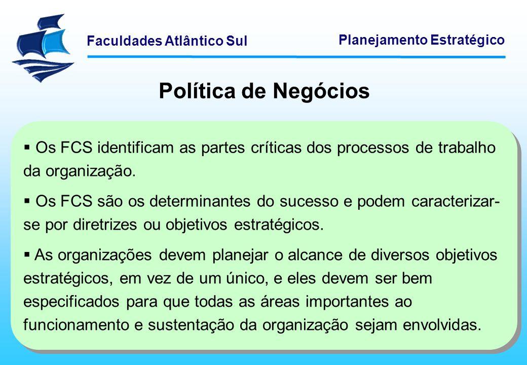 Política de Negócios Os FCS identificam as partes críticas dos processos de trabalho da organização.