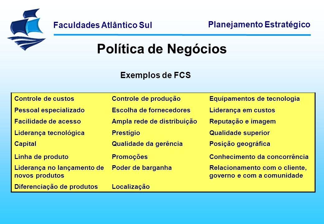 Política de Negócios Exemplos de FCS Controle de custos