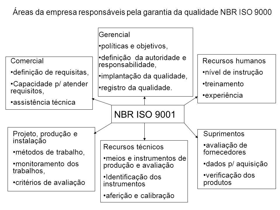 Áreas da empresa responsáveis pela garantia da qualidade NBR ISO 9000