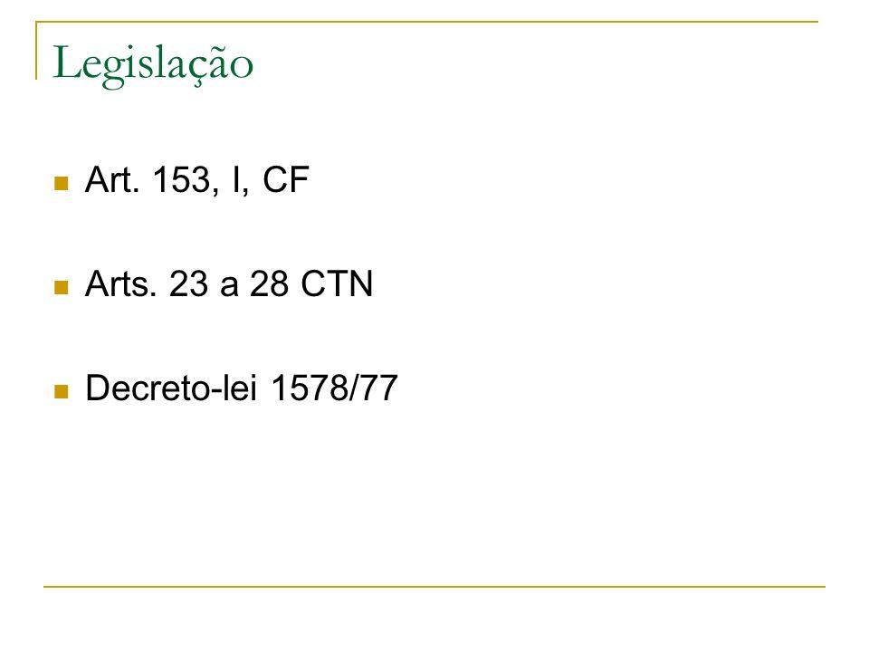 Legislação Art. 153, I, CF Arts. 23 a 28 CTN Decreto-lei 1578/77