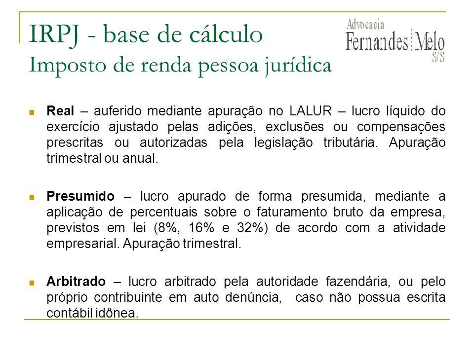 IRPJ - base de cálculo Imposto de renda pessoa jurídica