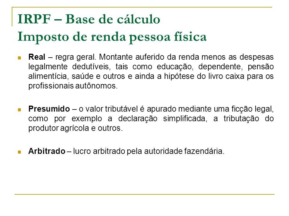 IRPF – Base de cálculo Imposto de renda pessoa física