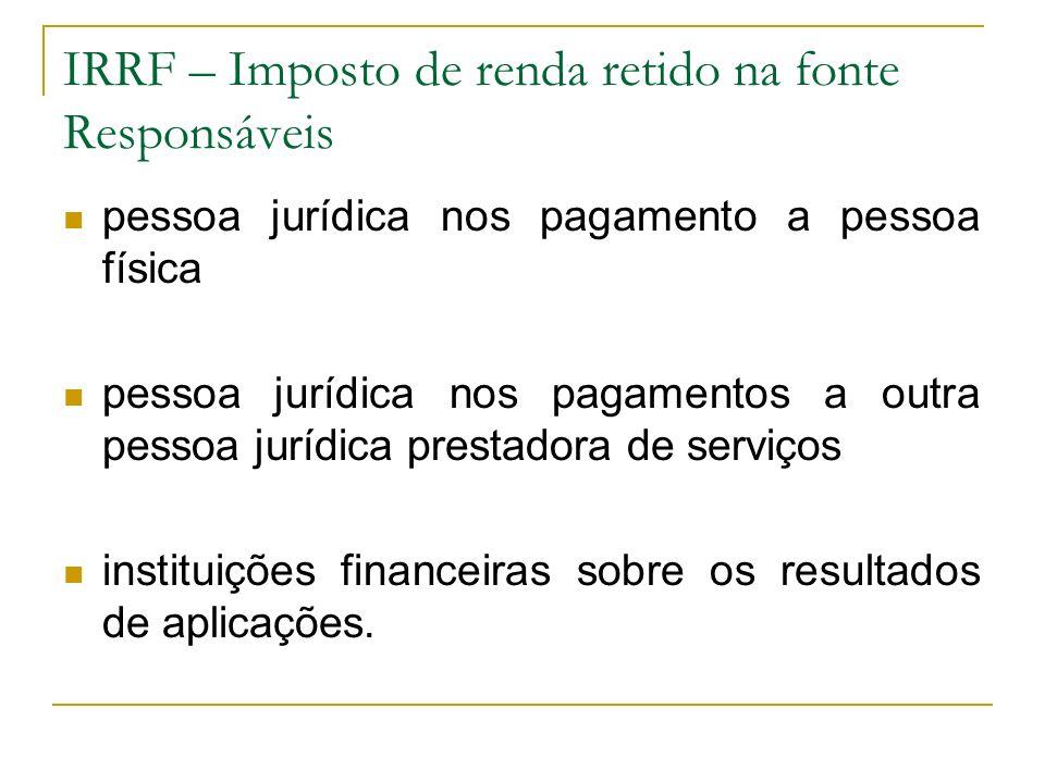 IRRF – Imposto de renda retido na fonte Responsáveis