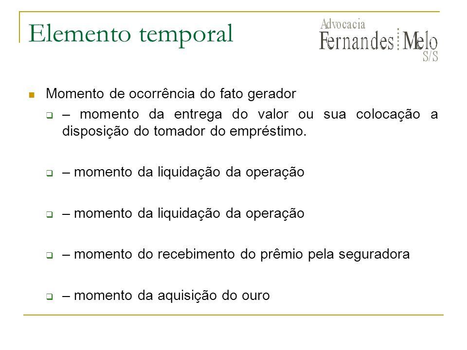 Elemento temporal Momento de ocorrência do fato gerador
