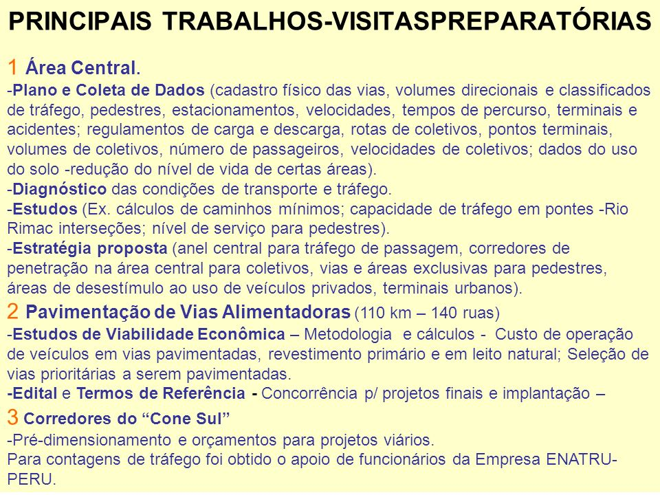 PRINCIPAIS TRABALHOS-VISITASPREPARATÓRIAS
