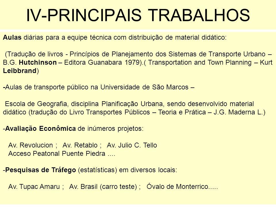 IV-PRINCIPAIS TRABALHOS