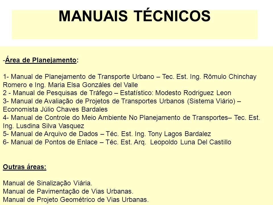 MANUAIS TÉCNICOS -Área de Planejamento: