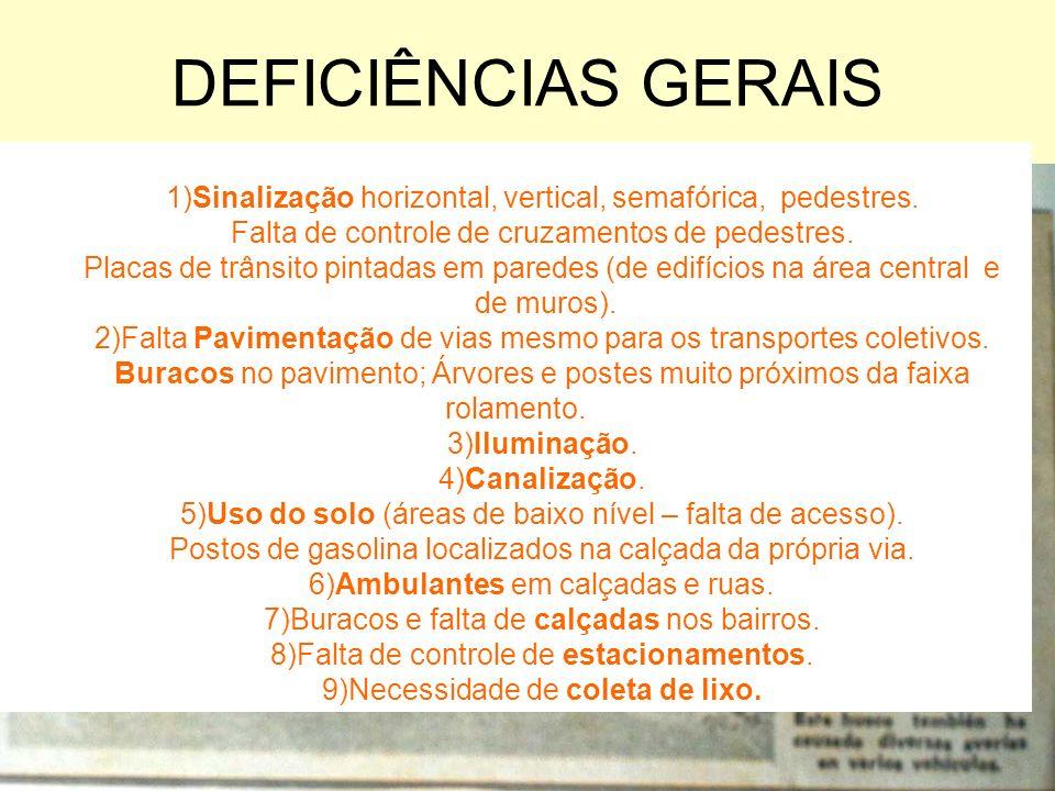 DEFICIÊNCIAS GERAIS 1)Sinalização horizontal, vertical, semafórica, pedestres. Falta de controle de cruzamentos de pedestres.