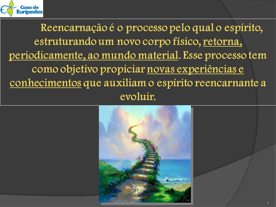 Reencarnação é o processo pelo qual o espírito, estruturando um novo corpo físico, retorna, periodicamente, ao mundo material.