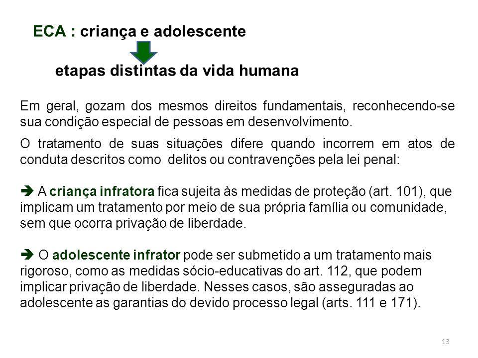 ECA : criança e adolescente etapas distintas da vida humana