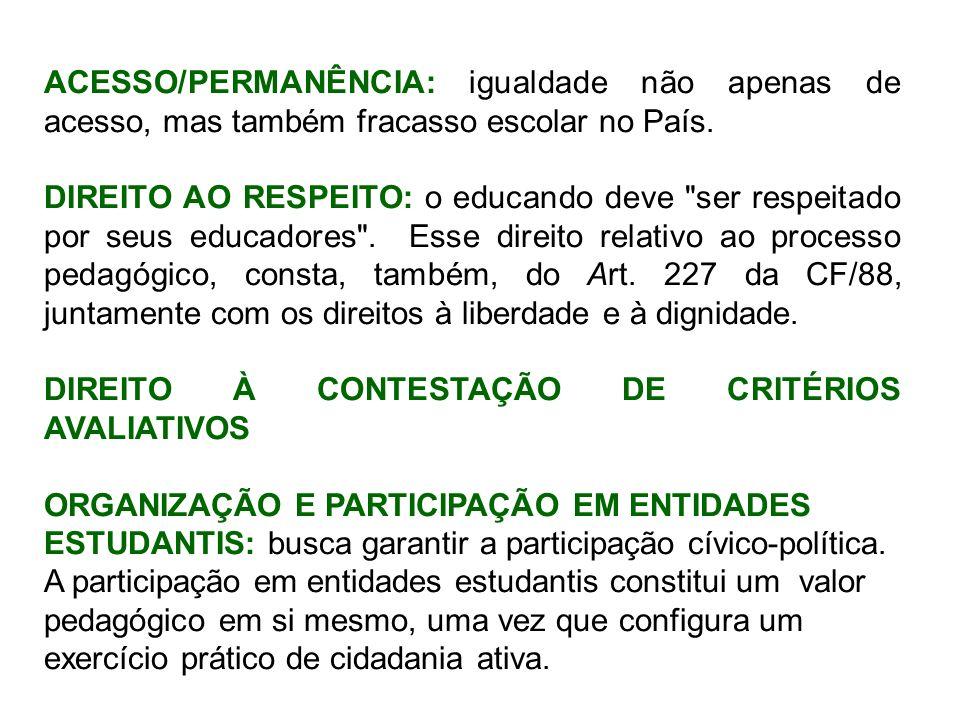 ACESSO/PERMANÊNCIA: igualdade não apenas de acesso, mas também fracasso escolar no País.