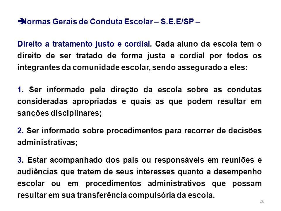 Normas Gerais de Conduta Escolar – S.E.E/SP –
