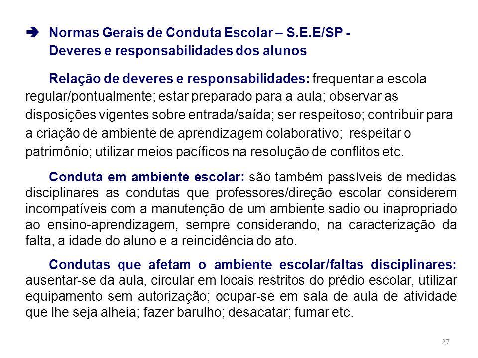 Normas Gerais de Conduta Escolar – S.E.E/SP -