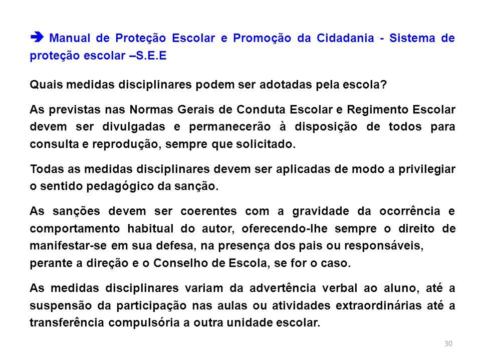  Manual de Proteção Escolar e Promoção da Cidadania - Sistema de proteção escolar –S.E.E