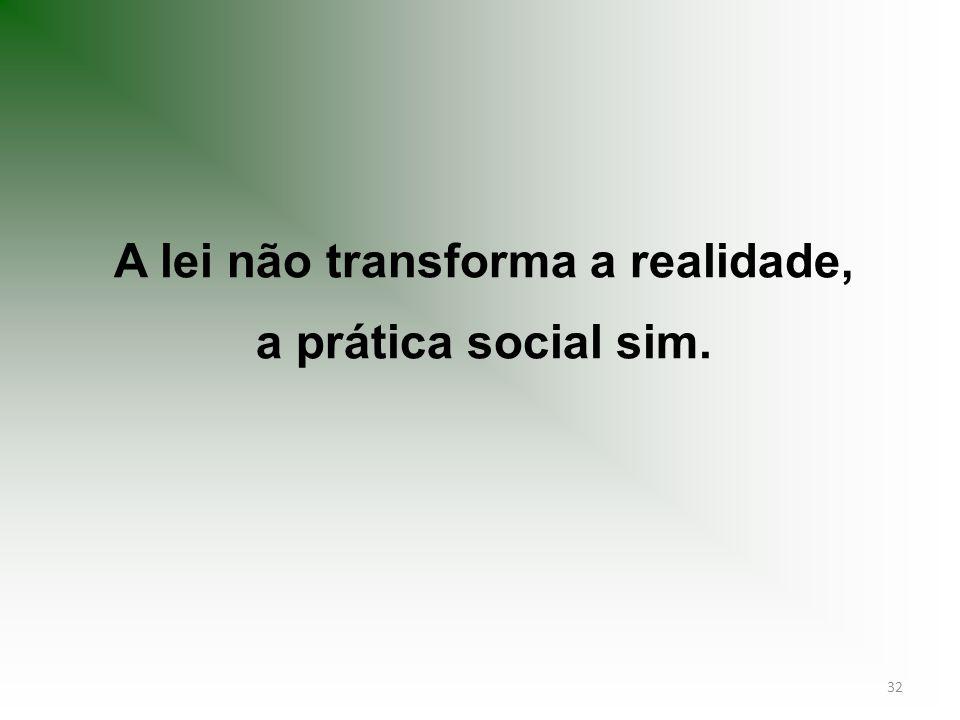 A lei não transforma a realidade, a prática social sim.
