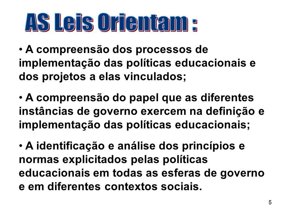 AS Leis Orientam : A compreensão dos processos de implementação das políticas educacionais e dos projetos a elas vinculados;