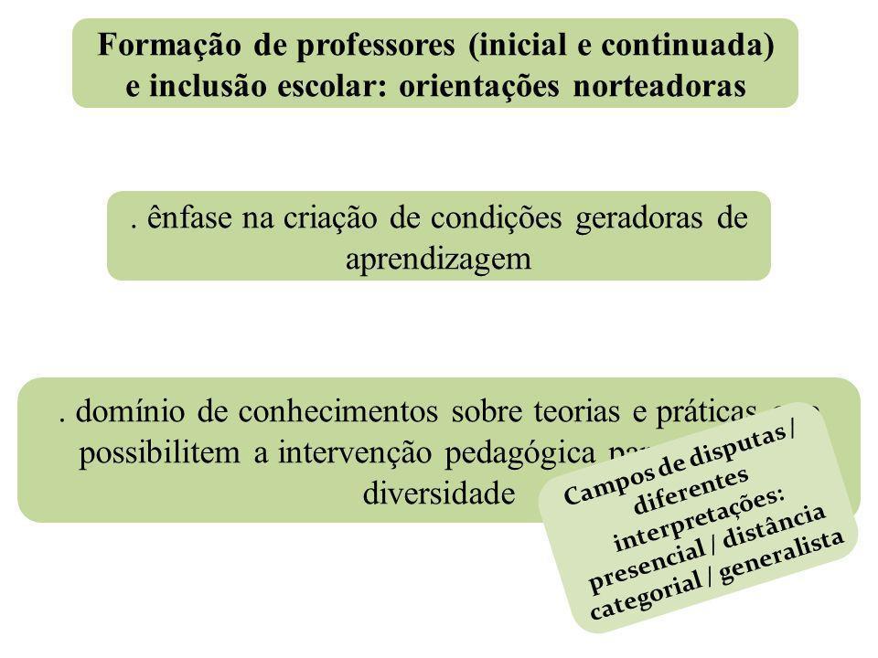 . ênfase na criação de condições geradoras de aprendizagem