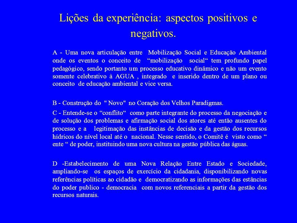 Lições da experiência: aspectos positivos e negativos.