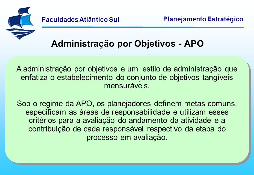 Administração por Objetivos - APO