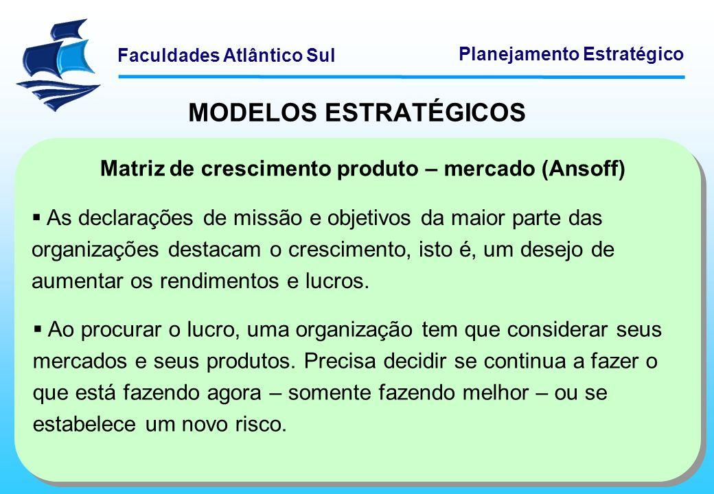 MODELOS ESTRATÉGICOS Matriz de crescimento produto – mercado (Ansoff)