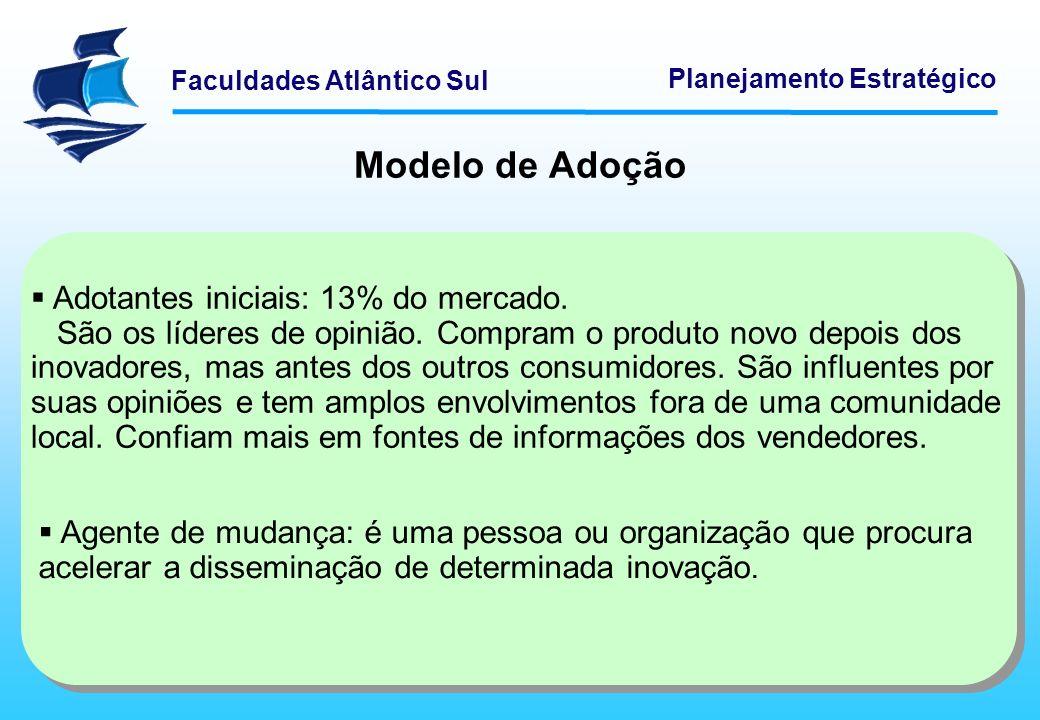 Modelo de Adoção Adotantes iniciais: 13% do mercado.